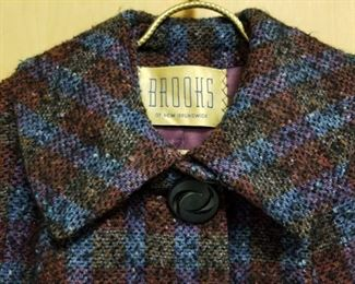 50's Brooks of New Brunswick 1 Button Tweed 3/4 Length Swing Coat
