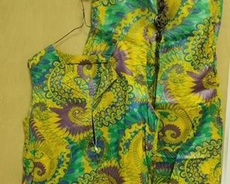 1970's Psychedelic Tunic and bell bottom pants with braided bone belt