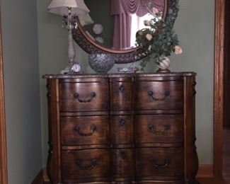 """Walter E Smithe marble top chest and mirror $359               42""""W x 38""""H x 18""""D"""