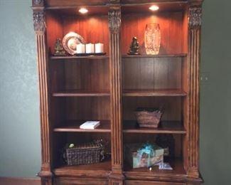 "Walter E. Smithe one piece lighted bookshelf $315               8'H x 55""W x 20""D"