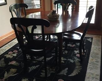 """Tom Price """"nickel & stone"""" kitchen table with 6 chairs and 2 leaves. I think its cherry $550"""