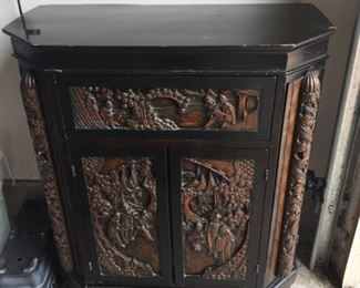"""Beautiful Antique Asian writing desk cabinet.  Beautiful inlaid carvings.   Brought home from Korea after war in the 1950's.    $360 approx size = 36""""H x 30'W x 15""""D"""