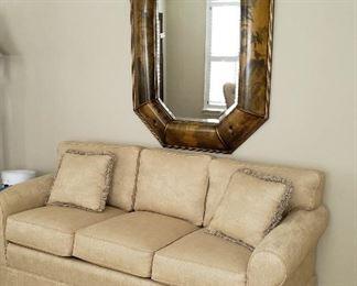 Norwalk 3 cushion sofa neutral color; gorgeous mirror