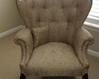 wing back chairs in neutral tones (2)