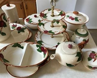 Franciscan apple divided vegetable, teapot, sugar & creamer, 3 tier tidbit tray and much more