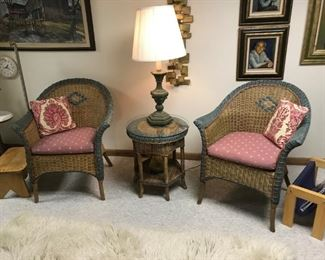 Wicker furniture w/ cushions, pieces include love seat, table, two chairs, table and couch