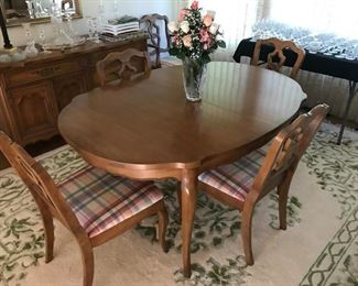 Dining Room table with 2 arm chairs, 4 side chairs, sideboard, server and 1 leaf