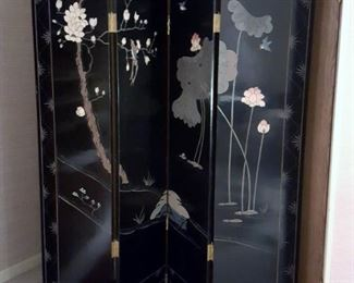 Antique Chinese black lacquer room divider 4 panel screen