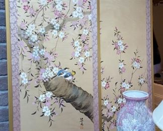 Baido Minami pair Japanese hand painted panels