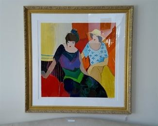 Itzchak Tarkay: Intimacy  Signed, number, matted and framed 32x32 serigraph