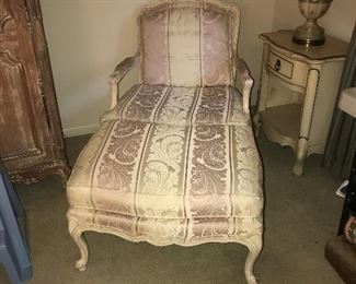 French provincial chair w/ ottoman