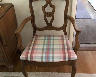 One of two dining room arm chairs
