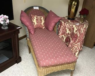 Wicker furniture w/ cushions, pieces include love seat, table, magazine rack / basket, two chairs, table and couch