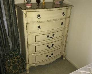 French provincial double bed set includes dresser, pr night stands, and dresser w/ mirror