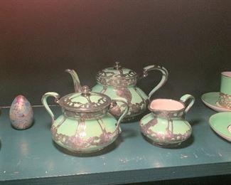 Lenox Art Nouveau Silver overlay 3pc Tea set