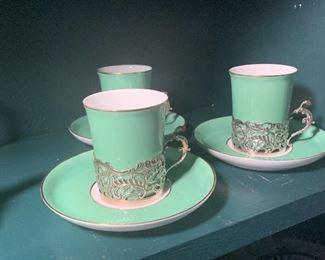 Royal Worcester Cocoa Set, Sterling handles.