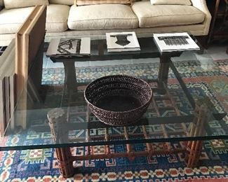 Large coffee table and rug