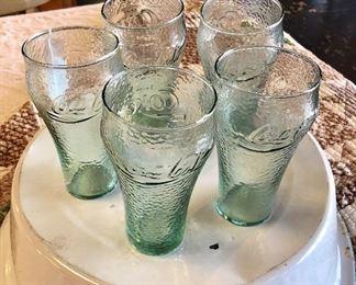 Set of 5 Coca-Cola Pebbled Glass Tumblers