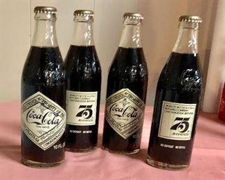 "c.1974, ""COCA-COLA"" 75th Anniversary Bottles"