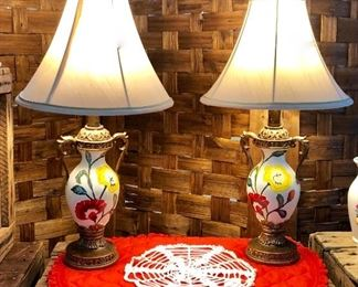 """Pair of ADORABLE Hand Painted Lamps with """"Handles"""""""