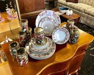 """c.1950's, """"VALMONT CHINA, Rose Pattern"""" 14 Pieces AND 8 Jars of Vintage Jewelry Pieces, Buttons, Small Items, etc."""