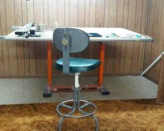 Drafting Table with Chair and Tools