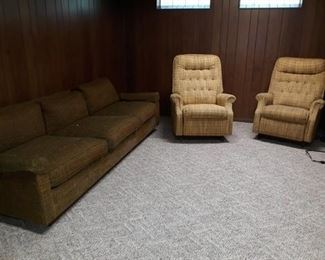 Large Vintage Sofa and Matching Swivel Arm Chairs