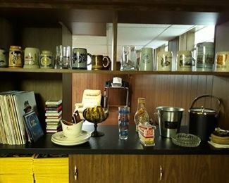 Beer Steins, National Geographic Magazines, Vinyl Albums, 8-Track Tapes, and Barware