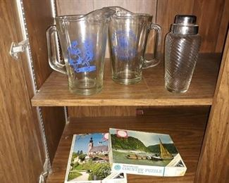 Pitchers, Cocktail Shaker, and Puzzles