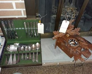 Silver Plate Flatware and German Cuckoo Clock Case