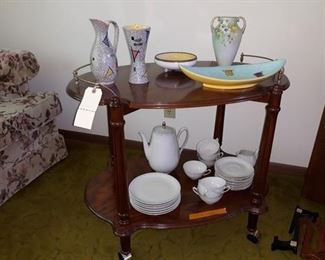 Tea Cart, Mid Century Modern Pottery, Tea Set, and Porcelain Decor