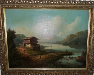 Oil Painting with Ornate Frame and Gallery Light