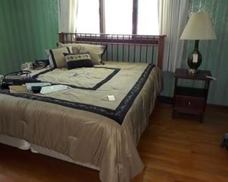 King Size Mission Style Bed Frame, Fleur de Lis Bedding, Mid Century Glass Table Lamp, and Side Table