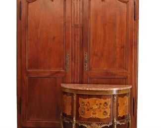 18th Century  French Cherry Armoire and Marquetry Commode
