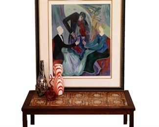 """Barbara Wood """"Dinner For Two"""" Silkscreen, Mid Mod Coffee Table and Glass"""
