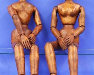 Pair of Large Wooden Artist Mannequins