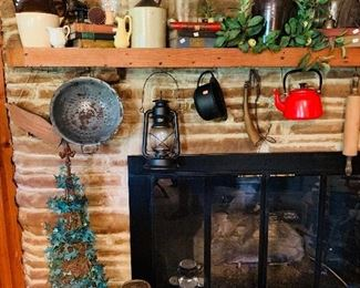 Variety of Primitive Crocks, Cast Iron & More
