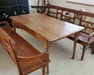 "66: 	Antique Teak Wood Table with Two Bench Seats	 Measures approx 60"" x 31"" x 27"""