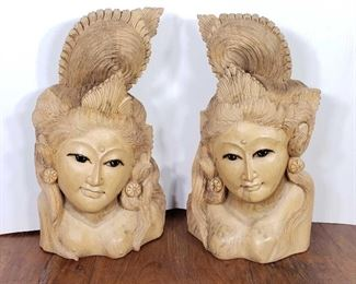 "202: 	 Hand Carved Wooden Geishas Measures approx 18""×10"""