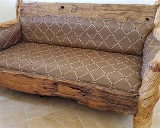 50: Carved Wood and Leather Bench
