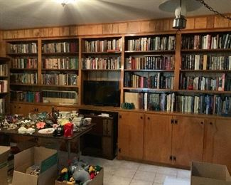 In addition to the loaded shelves, there are 2 bookcases filled as well as 11-12 boxes (not shown).  I have non-fiction/fiction; biography/autobiography; history; literature; encyclopedias; foreign language (mostly French); young adult as well as children.  Almost whole collection of Louis L'Amour.  My book collection is extremely varied - also some rare and out-of-print.