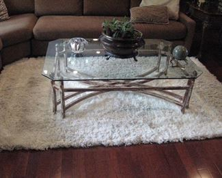 Glass Top Coffee Table, Rug...