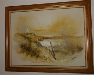 Large, over the Couch, Artwork. Lighthouse & Beach