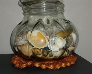 Large Glass Container with Sea Shells