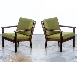 Hans Wegner Lounge  chairs in Ebonized Oak