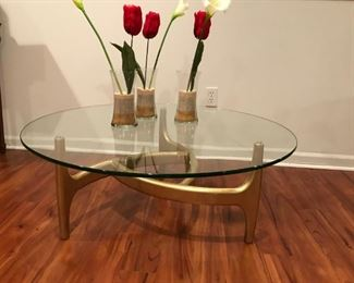 1960s walnut coffee table with glass top