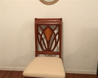 2 matching side chairs and 1930's framed print