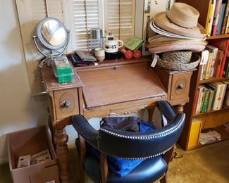 desk, leather chair