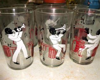Set of six Black Americana glasses