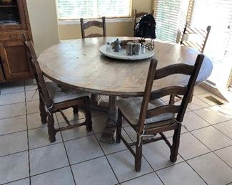 Large solid wood table w/ chairs